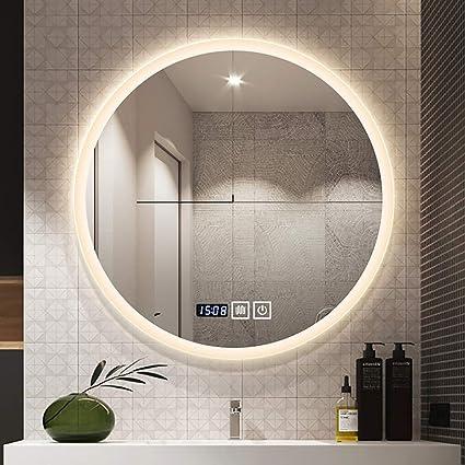 Led Badkamer Licht Spiegel Zwart Smeedijzeren Frame Wandmontage Touch Button Ronde Spiegels Wit Licht En Warm Licht 3 Size Amazon Nl