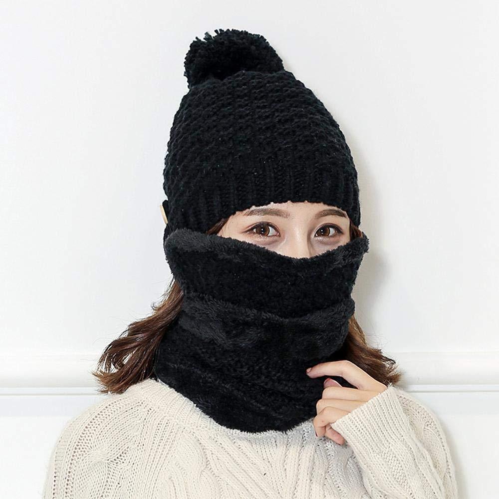 Lnyy Sombrero de de de Primavera e Invierno Moda Cien Vueltas Sombrero Tejido Grueso Caliente Bufanda Protectores máscara Tapa Conjunto 0bfb5f