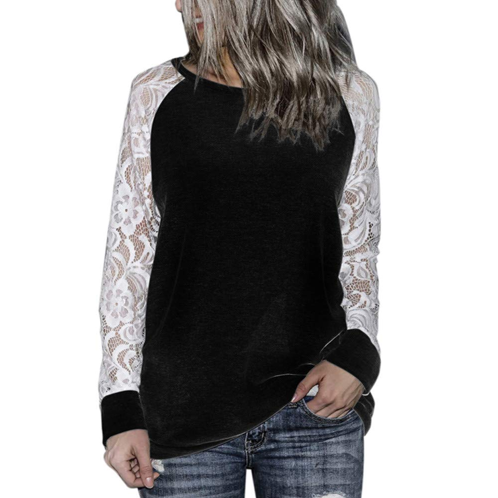 Fainosmny Womens Blouse Lace Floral Shirt Loose Pullover Fashion Soft Tops Long Sleeve Sweatshirt Spring Summer Jumpers (Black, S)
