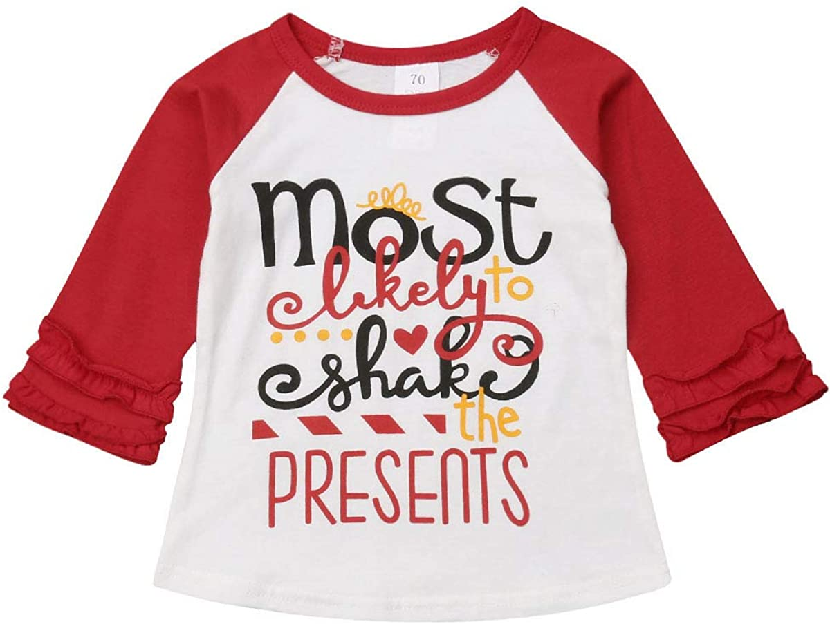 Memela Baby Christmas Outfit,1-4Age Toddler Kids Baby Girl Boy Long Sleeve Cartoon Christmas Print Pullover Tops
