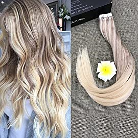 Full Shine 12 Inch Tape In Hair Extensions Remy Human Hair Color 18 Ash Blonde Fading To 22 Blonde Highlight 60 Platinum…