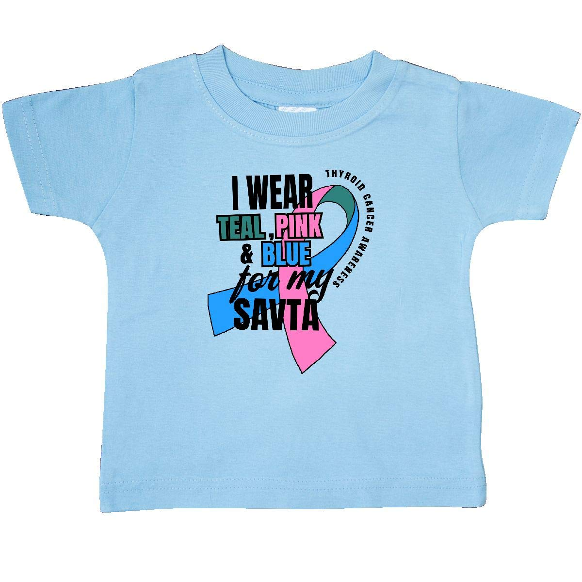 inktastic I Wear Teal Pink and Blue for My SAVTA Baby T-Shirt
