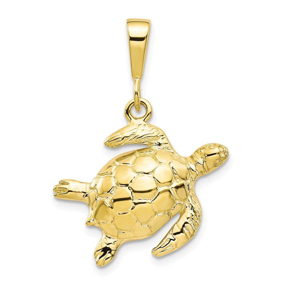 10K Yellow Gold Turtle Charm 30x22mm