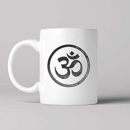 Namaste Coffee Mug, Vintage Print, Ohm Symbol, Yoga, Yogi ...