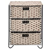 Drawer Storage Unit 3 Rattan Wicker Baskets Bin Chest Tower Rack Organizer Shelf