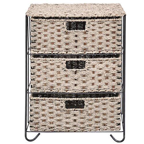 Drawer Storage Unit 3 Rattan Wicker Baskets Bin Chest Tower Rack Organizer Shelf by Happybeamy