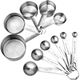 [upgrade version] Accmor 11 Piece Stainless Steel Measuring Spoons Cups Set, Premium Stackable Tablespoons Measuring Set for Dry and Liquid Ingredients, Perfect Cooking Baking Tool(Upgraded Version)