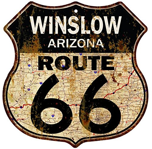 Great American Memories Winslow, Arizona Route 66 Vintage Look Rustic 12x12 Metal Shield Sign S122035