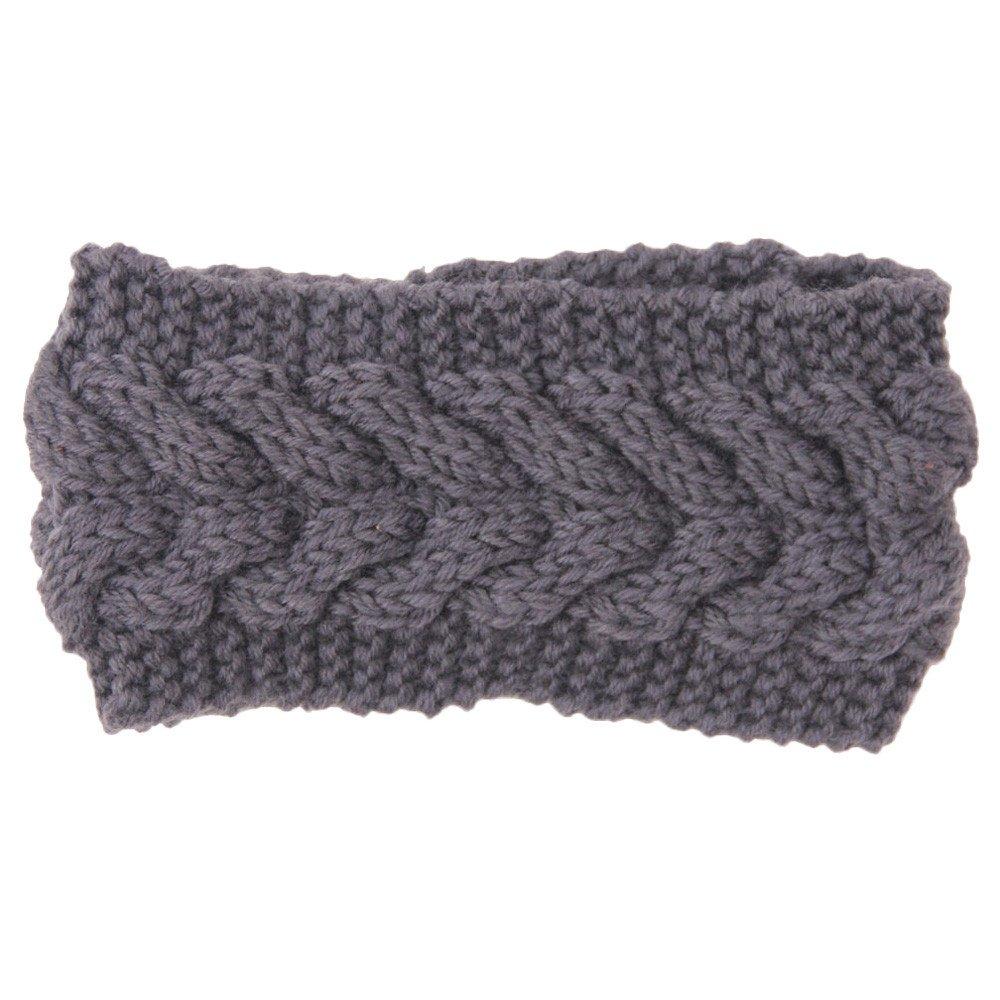 Women's Chunky Cable Knitted Turban Headband Ear Warmer Head Wrap Hairband (Green)