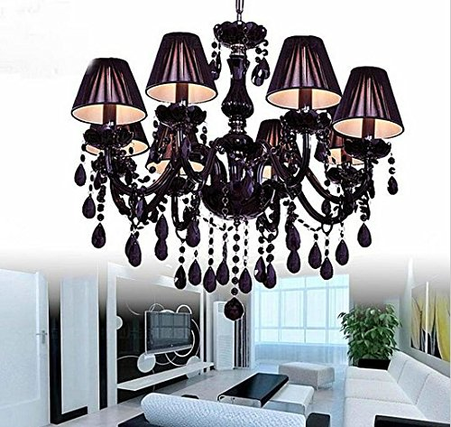 GOWE 8 light black crystal chandeliers,with shade, E12/14 lamp holders Lampshade Color:red
