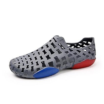 cab759de511b 2018 New Men s Outdoor Clogs Sandals Flat Heel Cloesd Toe Hollow Vamp Water  Shoes (Color   Gray