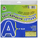 Pacon 0051623 Self-Adhesive Reusable Letter, 4'', Blue, Pack of 78