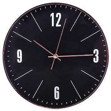 YVSoo 30cm Reloj de Pared Silencioso Reloj Pared Negro Modernos Decoración Adorno para Hogar Salon Oficina Comedor Habitación: Amazon.es: Hogar
