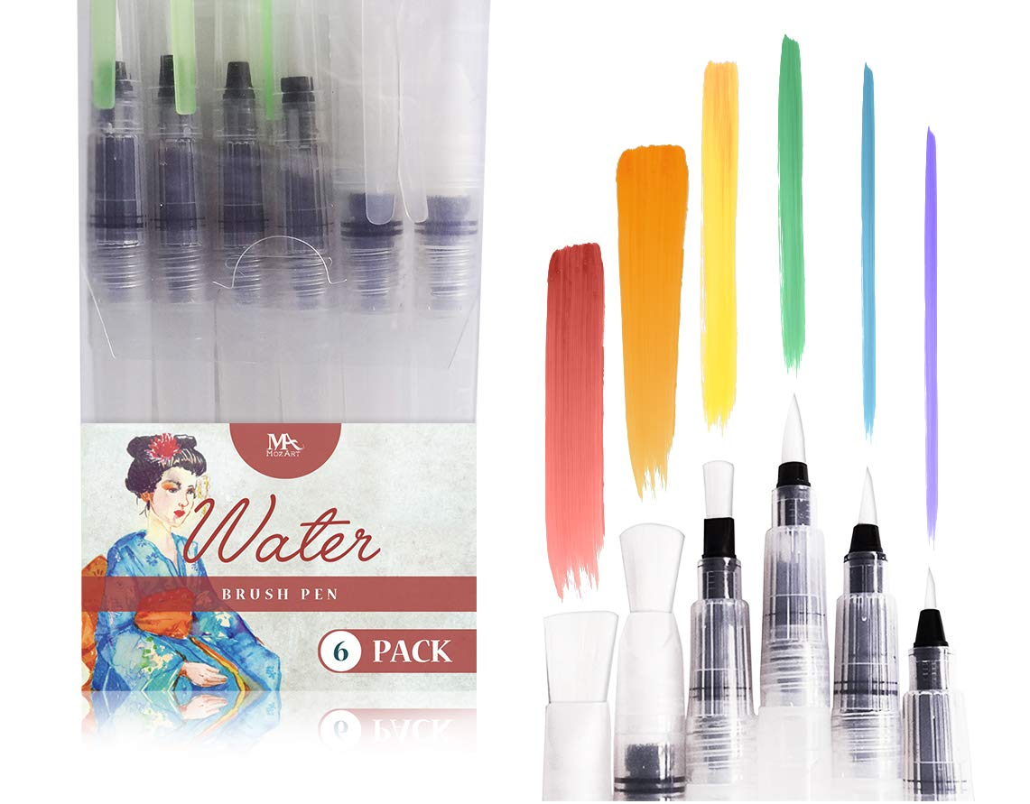 MozArt Supplies Water Brush Pens - Set of 6 Brush Tips - Great for Watercolor Paints, Water Soluble Pencils, Brush Pen, Markers - Refillable Brush Pens - Aqua Pen, Art Brushes