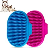 Dog Bath Brush , Aoche Pet Bath Comb Brush Soothing Massage Rubber Comb 2pcs with Adjustable Ring Handle for Long Short…