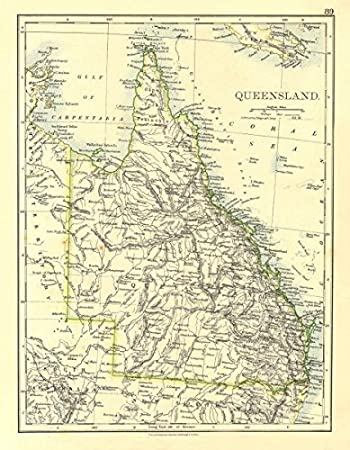 Amazon.com: QUEENSLAND. State map Brisbane Gold Coast Railways ...