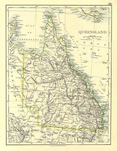 Amazon Com Queensland State Map Brisbane Gold Coast Railways
