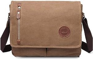 13 Inch Vintage Men's Canvas Messenger Bag Laptop Shoulder Satchel Crossbody Sling Bookbag School Bag Briefcase Laptop Bag (Coffee)