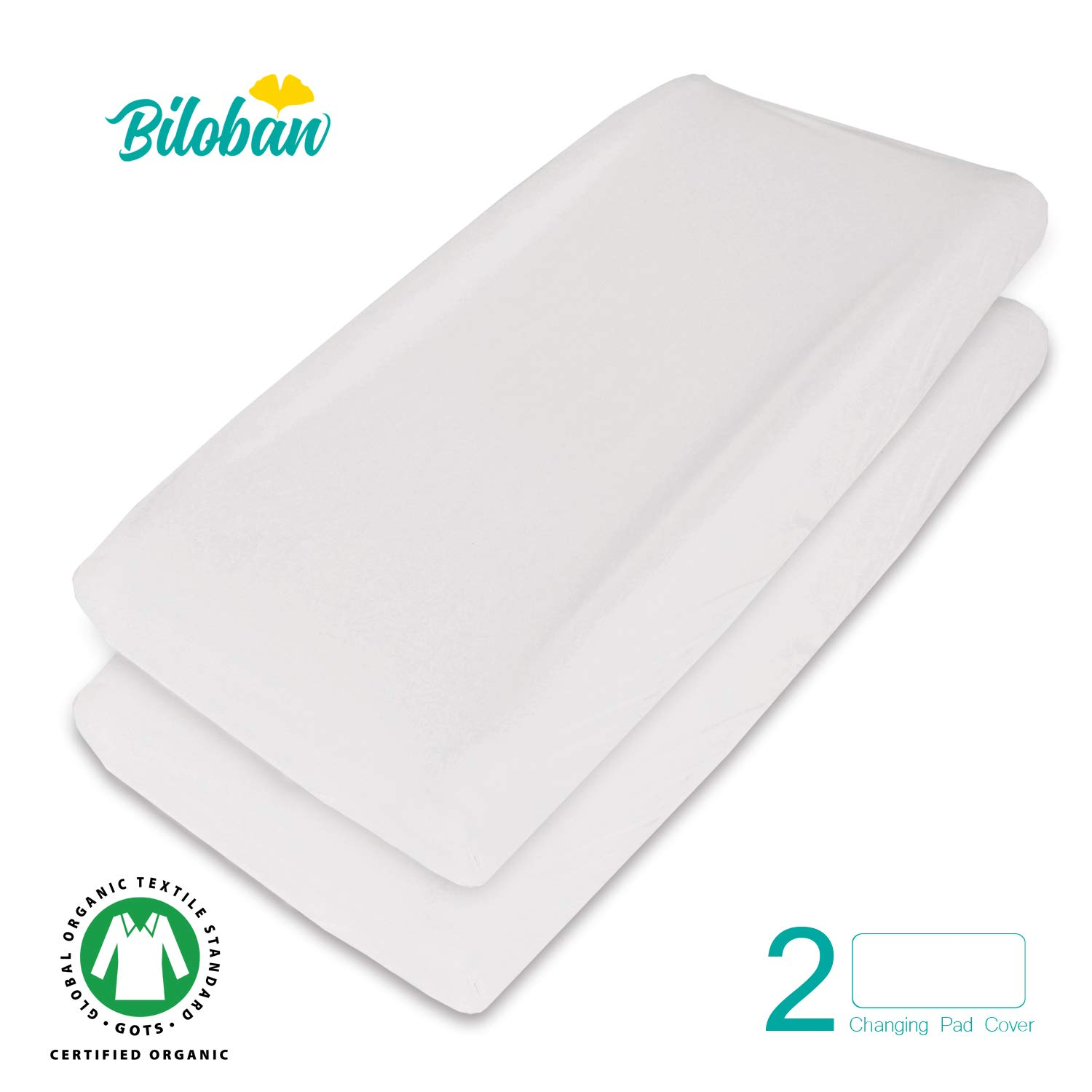 Organic Changing Pad Cover/Change Table Cover Sheets, Waterproof, 100% Organic Cotton, 2 Pack, Cream White by Biloban