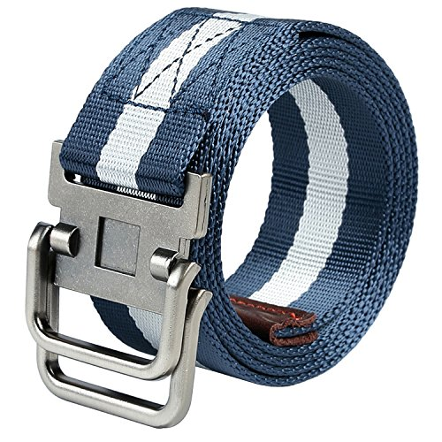 QISHI YUHUA Men's Web Belt Canvas belt,Blue Streak 110cm (Blue Canvas Belt)