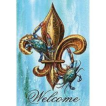 Welcome Blue Crabs and Fleur de Lis on Blue 44 x 30 Rectangular Screenprint Large House Flag