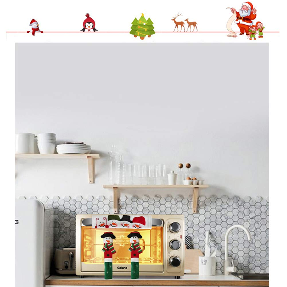 UNIKbrush 3Pcs Cute Snowman Refrigerator Handle Covers Set Practical Kitchen Appliance Microwave Oven Fridge Door Anti-Static Covers for Christmas Decoration