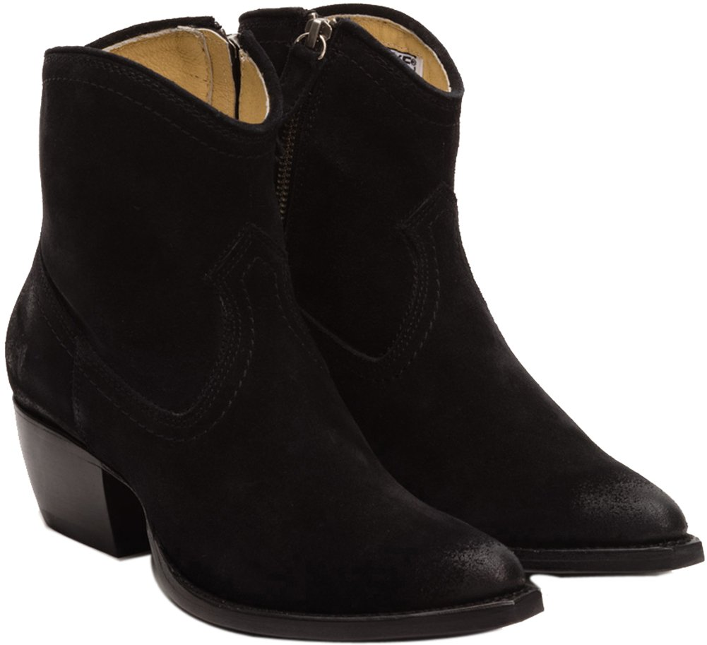 Frye Womens Sacha Short Western Bootie Black Size 8.5