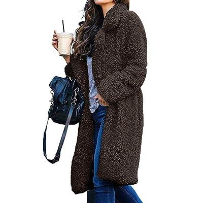 Edith qi Women Long Cardigan Fleece Coat,Open Front Jacket Suit Sweatshirt Outerwear: Clothing