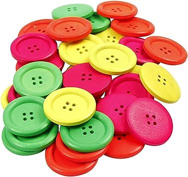 Wood Buttons neon colours 4 holes 35 mm 60 asstd