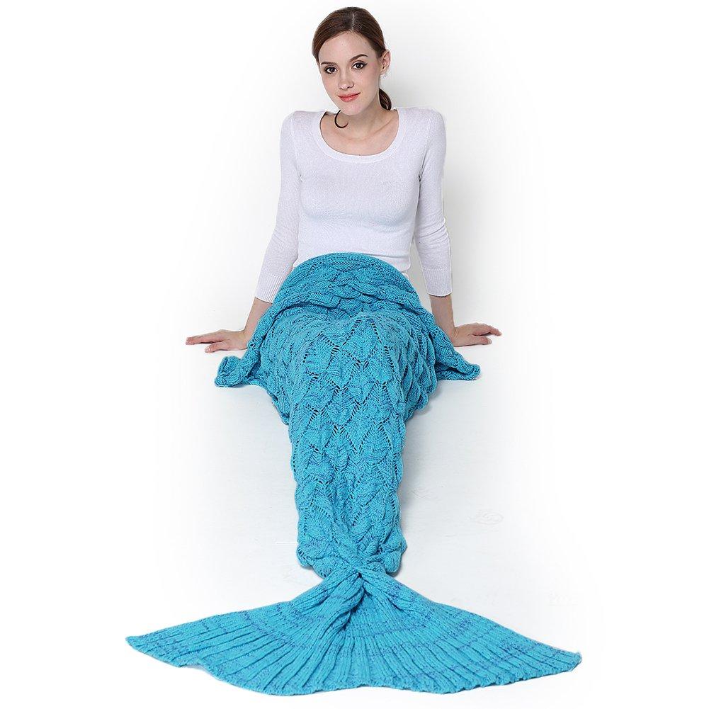 Meerjungfrau Decke, Handgemachte häkeln meerjungfrau flosse decke für Erwachsene, Mermaid Blanket alle Jahreszeiten Schlafsacks (195 x 90 cm, blau)
