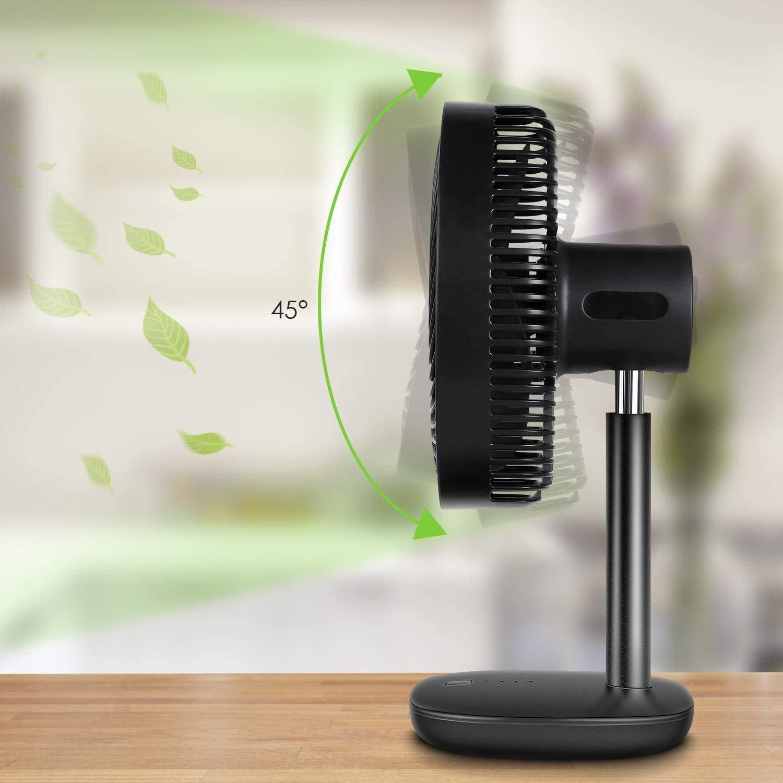 Regolabile 45/° Potente Silenzioso MVPOWER Ventilatore da Tavolo Facile da Pulire Ventola di Raffreddamento 5000mAh Ventola Ad Alto Volume,4 Velocit/à Portatile Ventilatore da Scrivania USB Bianco