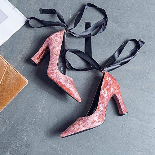 singole selvatica i 34 da punta tacchi con Scarpe alto ruvida satin scarpe di alti delle tacco con Spesso Rosa a Donna scarpe e Scarpe donna luce tqFAza