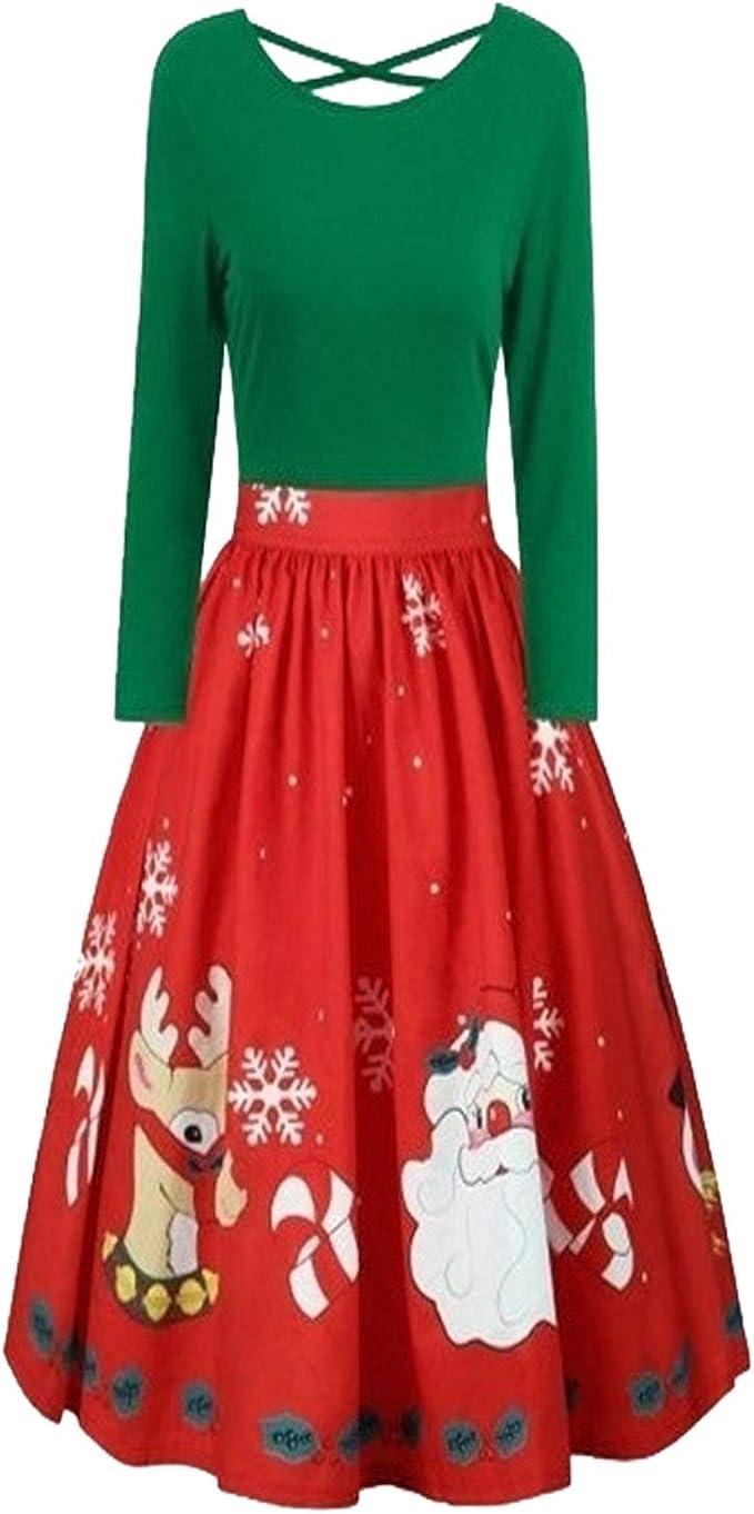 Jier Damen Weihnachtskleider Elegant Kleid Langarm A Linie Mit Blumendruck U Ausschnitt Partykleider Cocktailkleid Printkleid Knielang Kleider Amazon De Bekleidung