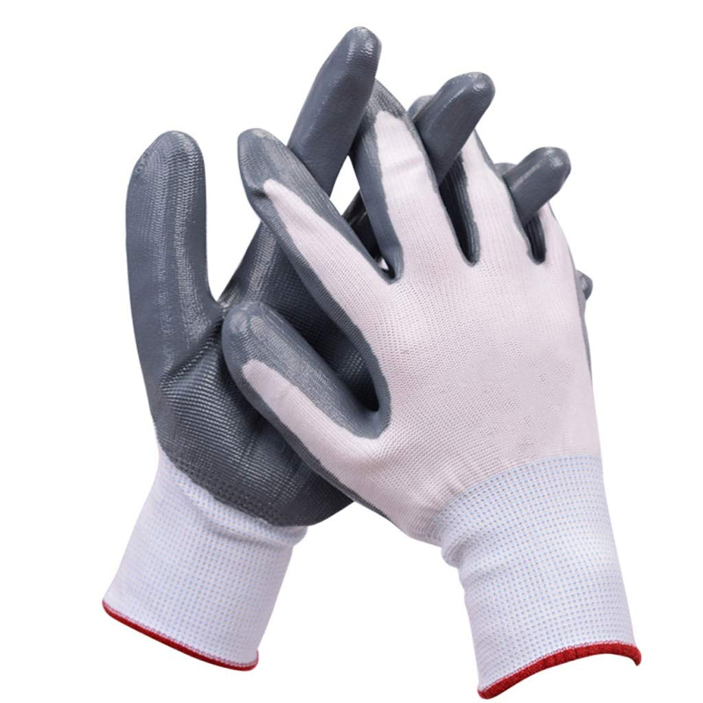 LDKFJH Working Gloves for Men and Women,Cut Resistant Industrial Gloves, Nitrile Coated Gardening Gloves(12 Pairs Pack,Medium (Color : B)