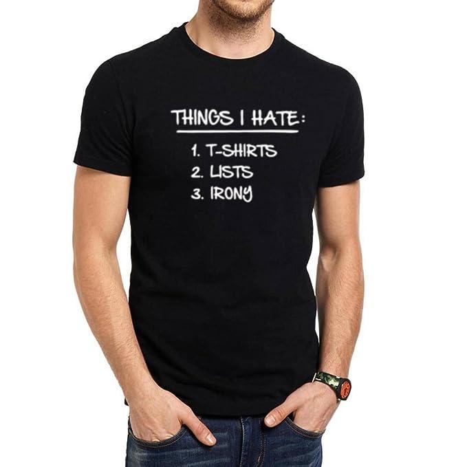 b86af7e5e Amazon.com: Loo Show Mens List Of Ironic Things I Hate Casual T-Shirts Men  Tee: Clothing
