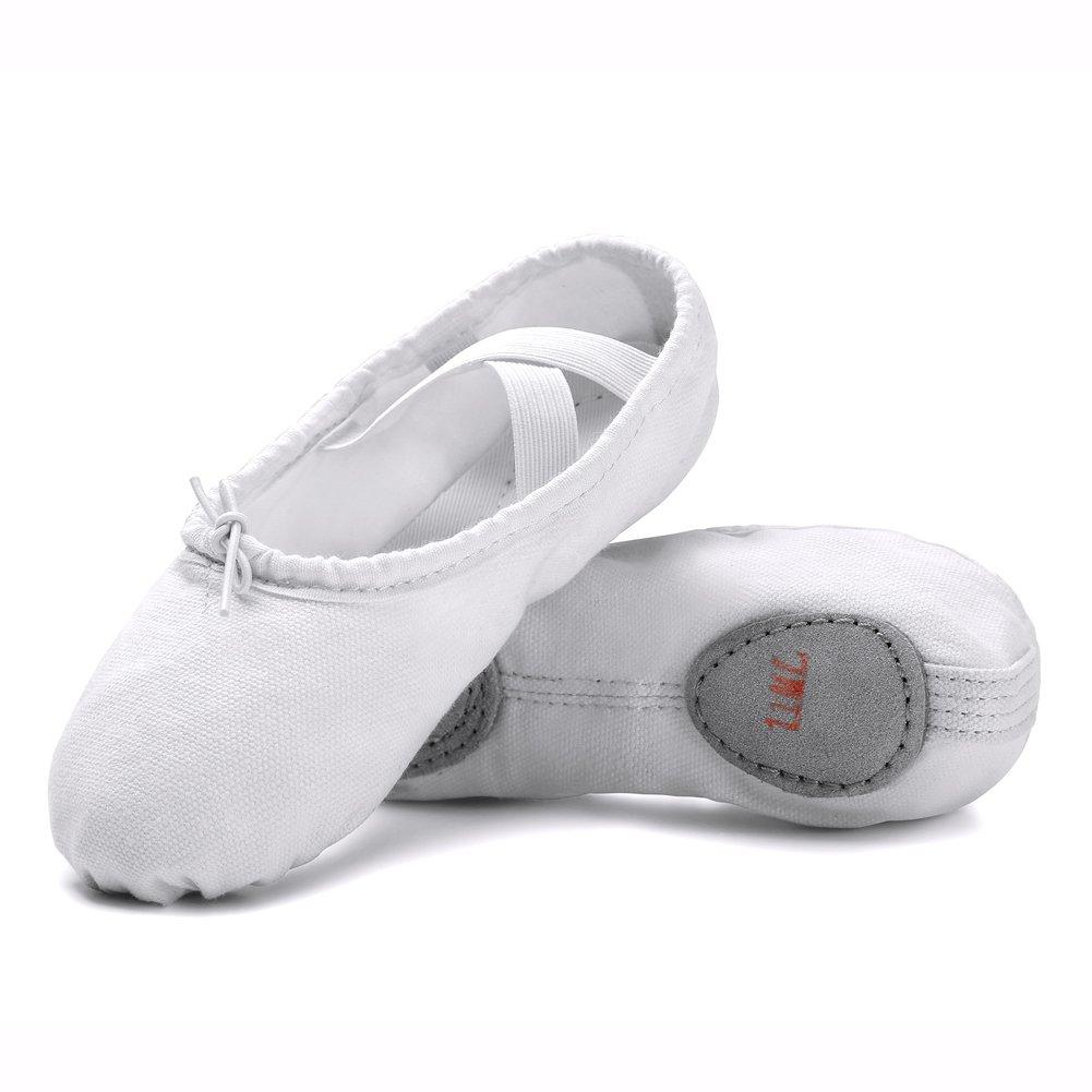 STELLE Girls Canvas Ballet Slipper/Ballet Shoe/Yoga Dance Shoe (Toddler/Little Kid/Big Kid/Women/Boy) (White, 7MT)
