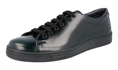 a7f293becb53 Prada Men's 4E3116 Green Brushed Spazzolato Leather Sneaker EU 9 (43) / US  10