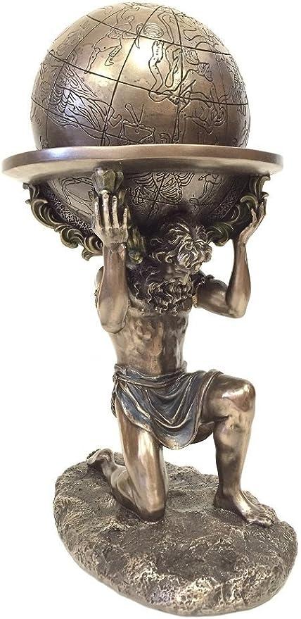 WU Bronze Greek Titan Atlas Carrying The World Statue