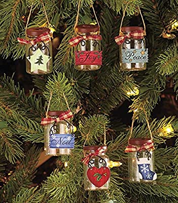 Set of 6 Mini Mason Jar Ornaments
