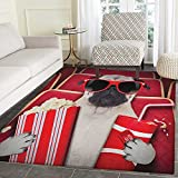 Pug Area Rug Carpet Funny Dog Watching Movie Popcorn Soft Drink and Glasses Animal Photograph Print Living Dining Room Bedroom Hallway Office Carpet 3'x4' Red Cream Ruby