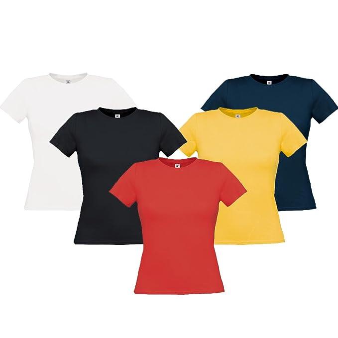 Pacchetto 5 Magliette Maniche Corte Donna Cotone Stock 5 T-Shirt Tinta Unita f7c2afde636d