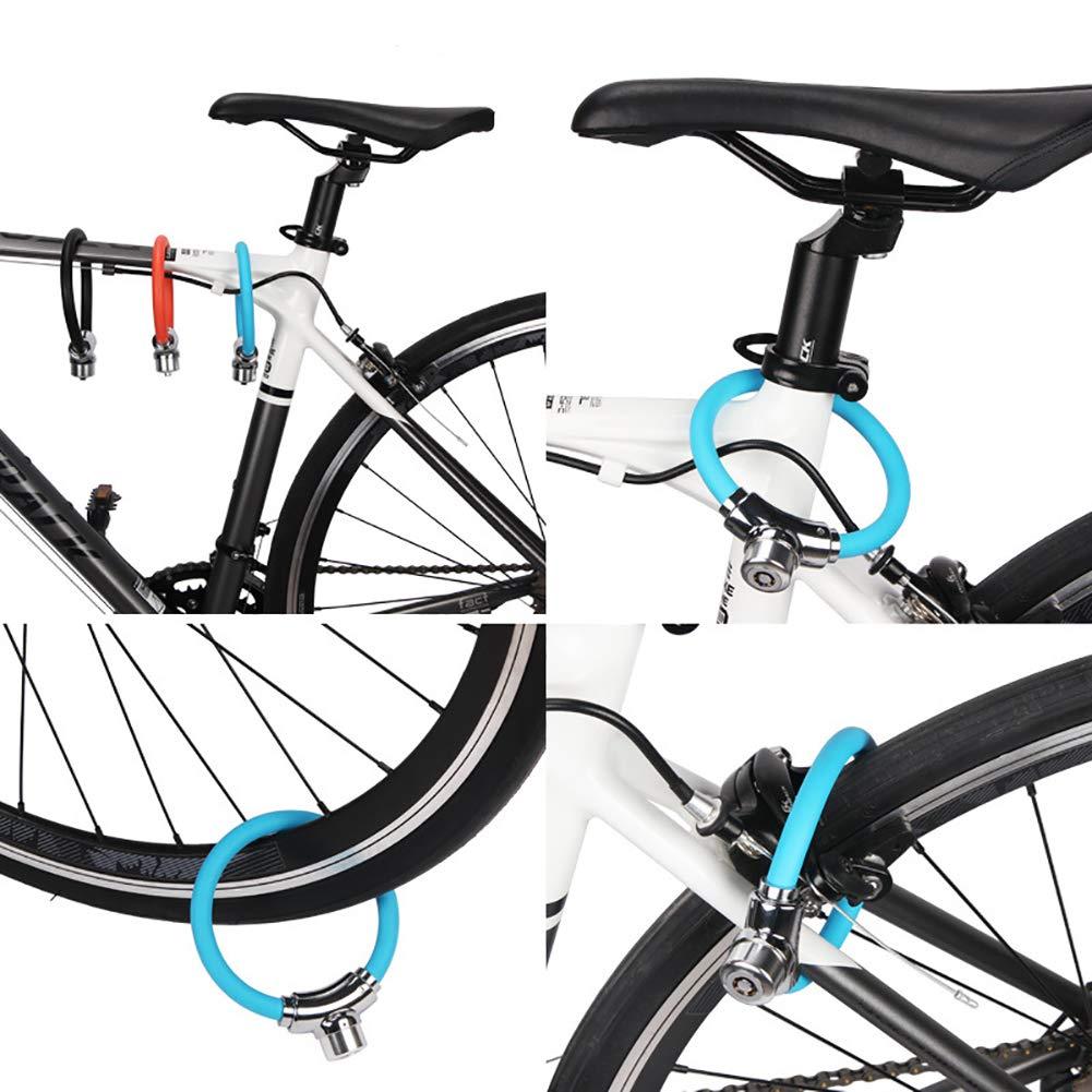 Lucchetto antifurto per bicicletta a ferro di cavallo con cavo rotondo con 2 chiavi per moto nero