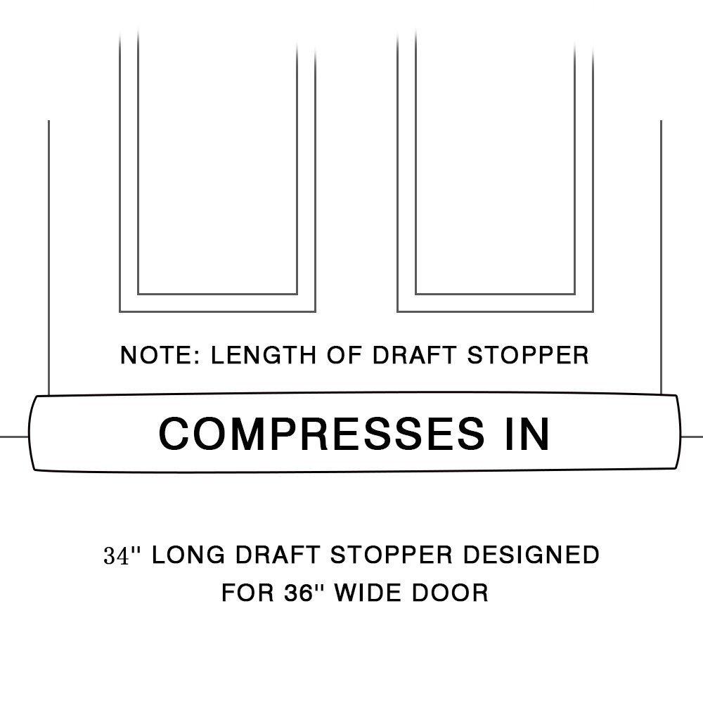 """KindoBest Door Draft Stopper Geometry Moroccan Pattern 35/""""L x 5/""""W x 2.5/""""H Heavy Duty Durable Door//Window Draft Blocker(Gray)"""