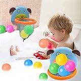 Lomire Mini Baloncesto Juguetes Baño Bañera Divertidos Juegos de Agua Cesta con Forma de Perrito - 5 Bolas para Bebes Niños Pequeños