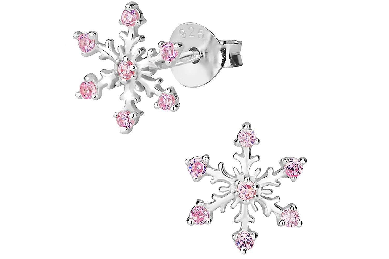 Hypoallergenic Sterling Silver Pink CZ Simulated Diamond Snowflake Stud Earrings for Kids Nickel Free