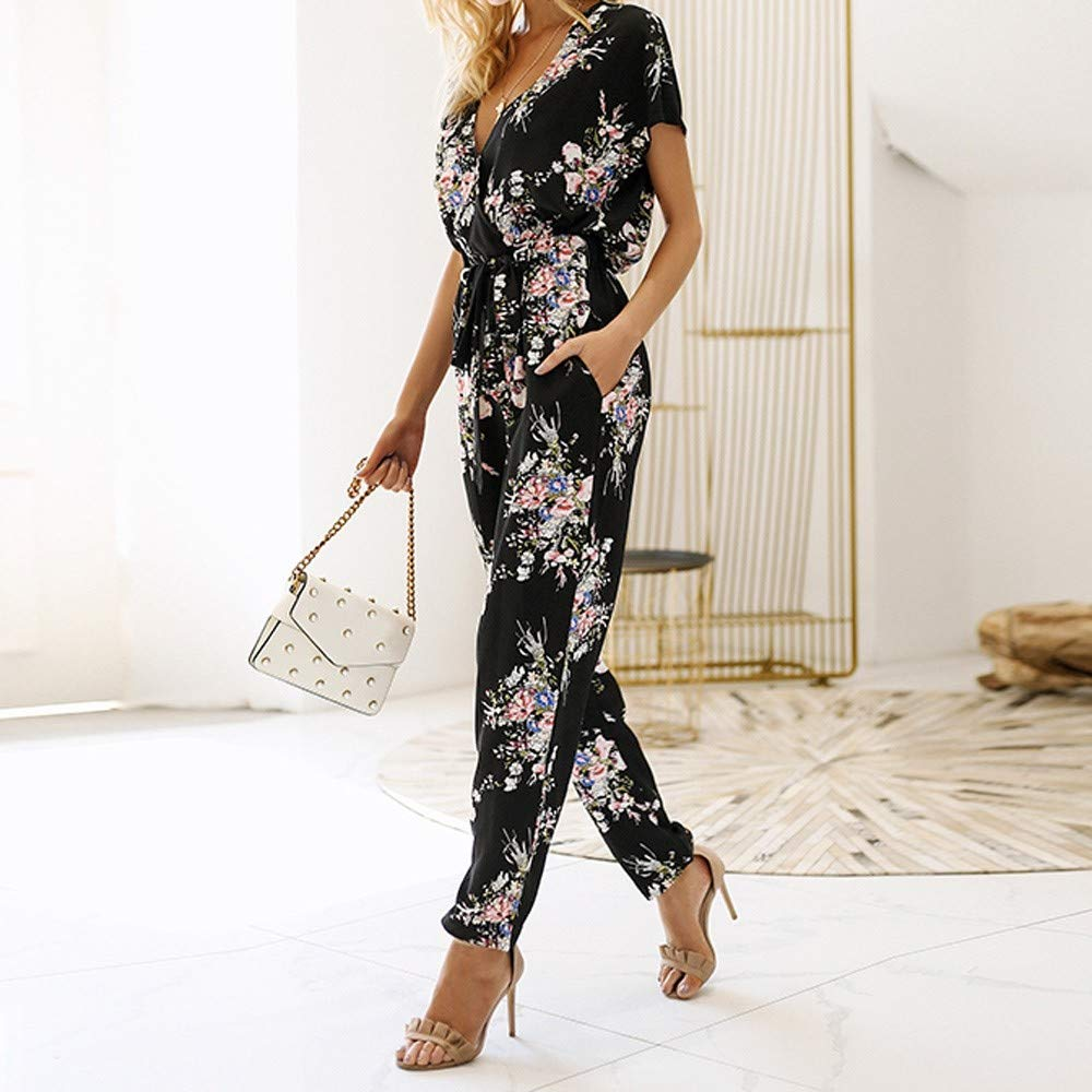 Corriee Womens Boho Jumpsuit Casual Loose Floral Print Short Sleeve Belted Workwear Rompers with Pocket