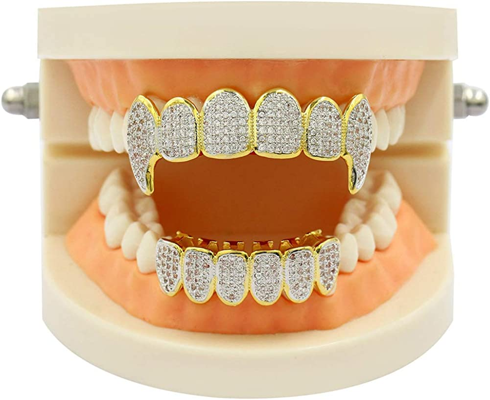 JAJAFOOK Iced Out CZ Lab Pink Diamond Trippie Vampire Fangs Top and Bottom Grillz for Kids Men Hip Hop