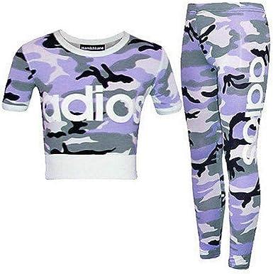 Enfants Filles Imprimé Camouflage Haut Court Leggings Veste Survêtement Ans 7-13