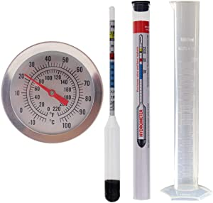 Home Brew Hydrometer and 300mm Brewing Dial Thermometer and 100ml Trial Jar - Home brew Equipment Pack