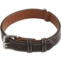 Vivifying Collier de chien en cuir marron foncé authentique et durable pour grands, moyens et petits chiens, réglable 36,3-46,7 cm